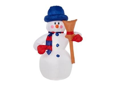 """3D фигура надувная """"Снеговик с метлой"""", размер 120 см, внутренняя подсветка 3 LED, компрессор с адаптером 12В, IP 65 NEON-NIGHT"""
