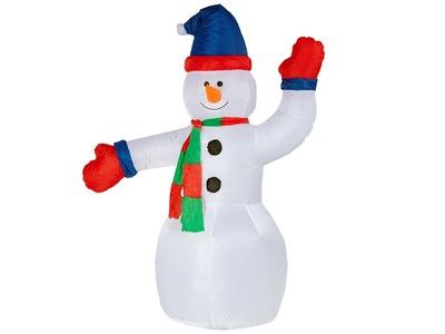 """3D фигура надувная """"Снеговик с шарфом"""", размер 180 см, внутренняя подсветка 2 LED, компрессор с адаптером 12В, IP 65 NEON-NIGHT"""