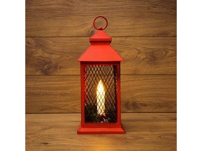 Декоративный фонарь со свечкой, красный корпус, размер 13.5х13.5х30,5 см, цвет ТЕПЛЫЙ БЕЛЫЙ
