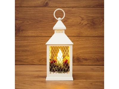 Декоративный фонарь со свечкой, белый корпус, размер 10.5х10.5х24 см, цвет ТЕПЛЫЙ БЕЛЫЙ