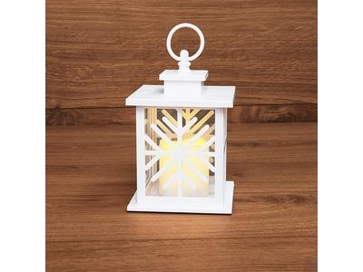 Декоративный фонарь со свечкой, белый корпус со снежинкой, размер 12х12х18 см, цвет теплый белый