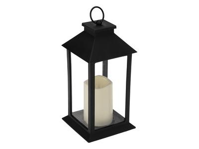 Декоративный фонарь со свечой 14x14x29 см, черный корпус, теплый белый цвет свечения NEON-NIGHT