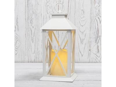 Декоративный фонарь со свечой 14x14x29 см, белый корпус, теплый белый цвет свечения NEON-NIGHT