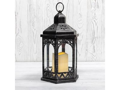 Декоративный фонарь со свечой 18x16.5x31 см, черный корпус, теплый белый цвет свечения NEON-NIGHT