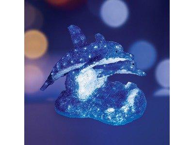 """Акриловая светодиодная фигура """"Синие дельфины"""" 65х48х48 см, 136 светодиодов, IP65 понижающий трансформатор в комплекте, NEON-NIGHT"""