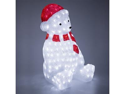 """Акриловая светодиодная фигура """"Медвежонок в красном колпаке"""" 56 см, 200 светодиодов, IP 65, понижающий трансформатор в комплекте, NEON-NIGHT"""