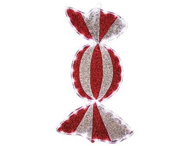 """Фигура """"Карамель"""" бархатная, с постоянным свечением, размеры 60*30 см (45 БЕЛЫХ светодиодов)"""