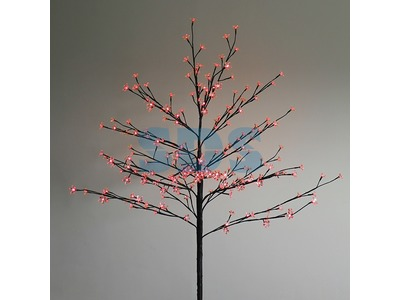 """Дерево комнатное """"Сакура"""", коричневый цвет ствола и веток, высота 1.2 метра, 80 светодиодов красного цвета, трансформатор IP44 NEON-NIGHT"""