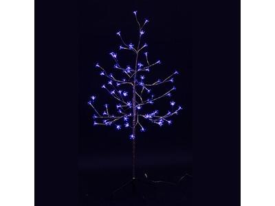 """Дерево комнатное """"Сакура"""", ствол и ветки фольга, высота 1.2 метра, 80 светодиодов синего цвета, трансформатор IP44 NEON-NIGHT"""