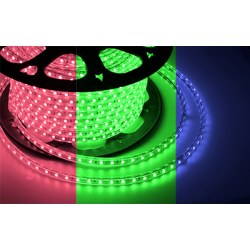 LED лента 220В, 13*8 мм, IP65, SMD 3528, 60 LED/m RGB, бухта 100 м